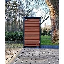 BBT@ | Premium Mülltonnenbox für 1 Tonne je 240 Liter Grau / Front-Edelholz / Vollverzinkte Bleche hochwertig pulverbeschichtet / Fronttür Edelholz