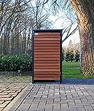 BBT@ | Premium Mülltonnenbox für 1 Tonne je 120 Liter Grau / Front-Edelholz / Vollverzinkte Bleche hochwertig pulverbeschichtet / Fronttür Edelholz