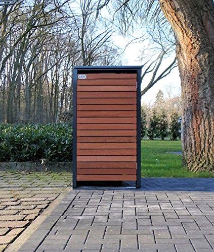 BBT@ | Premium Mülltonnenbox für 1 Tonne je 120 Liter Grau / Front-Edelholz / Vollverzinkte Bleche...