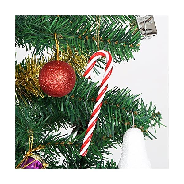 Naler 12PCS plastica Albero di Natale Rosso e Bianco Candy Cane Hanging Wall Home Party Decorazioni Ornamenti 4 spesavip