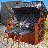 XINRO® XXXL Ostsee Strandkorb anthrazit günstig kaufen # inkl. Schutzhülle # 2 Bezüge (Grundbezug + abnehm- und waschbarer Wechselbezug)