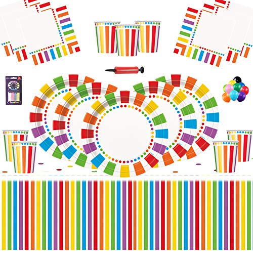 Rainbow Party Kids Geburtstag Dekoration-Rainbow Plates Cups Servietten Tischdecken Kostenlose 25 Ballons Kerzen Ballon Pump-16 Gäste
