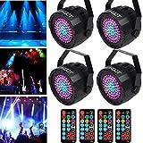 KOOT 78 LEDS Par Disco Licht 2019 Neueste RGB Bühnenlicht Blitzlicht Ton Aktiviert und Fernbedienung Beste für Verschiedene Parteien Platz Dekoration(4 Stück)