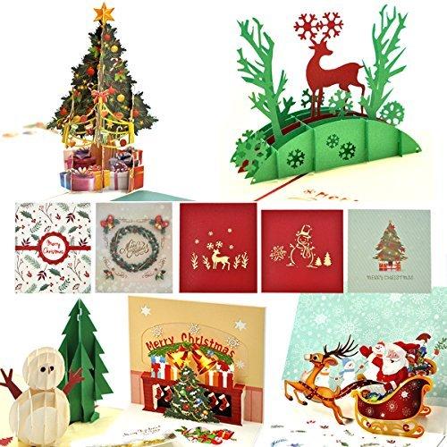 eZAKKA 5 Set Weihnachten Karten 3D Merry Christmas Cards 3D Pop-Up Grußkarte 1 Weihnachtsbaum, 1 Schneemann, 1 Weihnachtsbaum mit Glöckchen, 1 Elch und 1 Weihnachtsmann