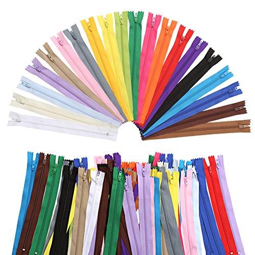Naler 100pezzi cerniere zip in 20colori ricambio per abbigliamento borsa federa per cuscino (23cm x 2,5cm)