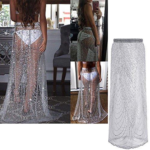 Vandot Damen Maxiröcke Mädchen Sarong Bling Pailletten Sexy Stretch  Perspective Side Split Bademode Sommerkleid Strandkleid Beachwear ...