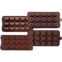 Lot de 4 moules à chocolat en silicone pour confection de chocolats durs, convient pour les enfants, la famille, les…