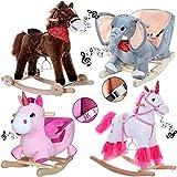 Deuba Rocking Horse for Children from 1 Year Old Horse, Unicorn, Elephant, Donkey with Music and Safety Belt'