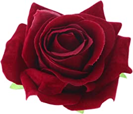 Artificial Big Rose Flower Hairpin Hair Clips Flower Brooch for Women Party (Wine Red)
