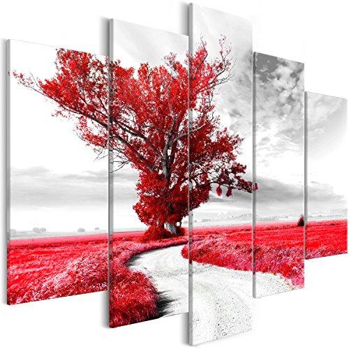 murando -Quadro Paesaggio 200x100 cm Stampa su Tela in TNT XXL Immagini Moderni Murale Fotografia Grafica Decorazione da Parete 5 Pezzi Albero Natura Rosso c-B-0356-b-o