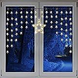 Beleuchteter Weihnacht Sternenvorhang Lichterkette Fensterdeko 90 LED warm weiß mit Saugnäpfe Einfach zu montieren