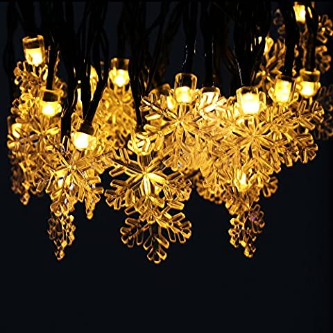 30 LED Snowflake String Lights, Homecube 20ft/6m Waterproof Snowflake String Lights Christmas Solar Lights for X-mas, Garden, Wedding, Birthday, Outdoor Decor (Warm White)