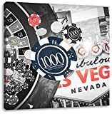 Pixxprint Las Vegas Casino Roulette 60x60 cm Stampa su Tela Decorazione