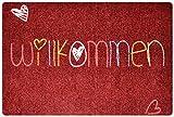 Designer Fußmatte Willkommen für Haustür, Flur, Innen und Aussen | Fussmatten rutschfest und waschbar | Praktische Schmutzfangmatte – Fußabtreter | Fussabstreifer – ROT 40 x 60 cm