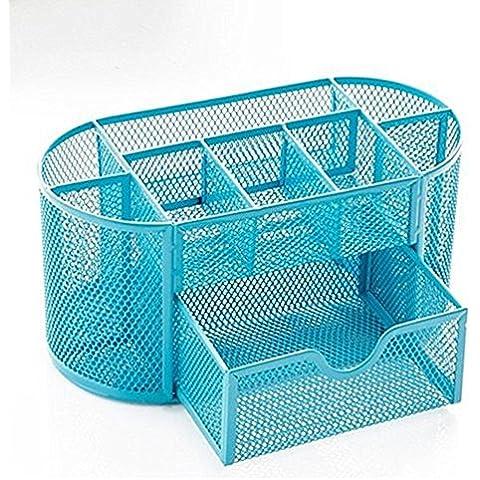 Mesh Organizer da scrivania forniture per ufficio, Cassetto con portapenne Collection blu