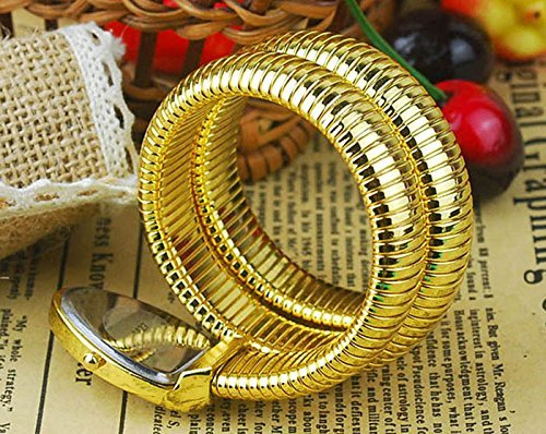 (fanmis schwarz Zifferblatt gold snake Form Pop doppelt gewickelt Fashion Damen Handgelenk Armreif Armband Armbanduhr)