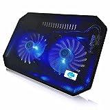 AAB Cooling NC64 - Kühlung mit 2 Lüftern und Blau LED, Laptop Kühler, Notebook Stand, Laptopständer für Notebooks und PS4 / XBOX Consolen, Notebook Halterung, Laptop Cooling Pad, Laptop Unterlage