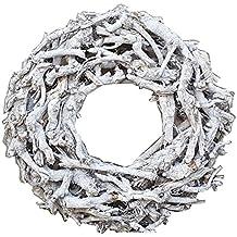Kranz aus Zweigen D=40cm Vintage weiss gewischt rund Wurzelkranz Türkranz Wand