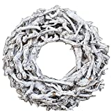 Der-kleine-Dekoladen Wurzelkranz Ø 50cm Vintage Weiß Grau Rund Türkranz