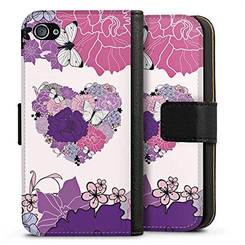 Apple iPhone X Silikon Hülle Case Schutzhülle Herz Schmetterling Love Blumen Sideflip Tasche schwarz