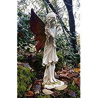 Estatua de ángel, hada mágica, grande, para jardín o exterior, efecto de piedra