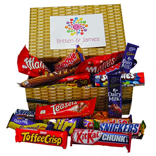 Britten & James� Chocolate Lovers Hamper for Her containing Approx. 30 Favourite Chocolate Bars. A Lovely Gift for Christmas, Girlfriend, Wife, Mother's Day, Birthdays, Weddings, Parties