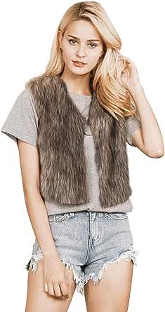Ushiny - Gilet in pelliccia sintetica, senza maniche, leggero, invernale, per donne e ragazze