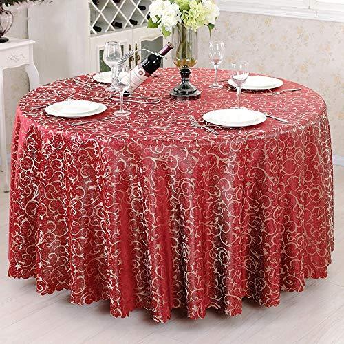 (LCTCZB Mode Tischdecken Freizeit Western Restaurant Runder Speisetisch Hotel Runder Tisch Hotelbankett (Mehrere Größen) (Farbe : Weinrot, größe : Diameter 200CM))