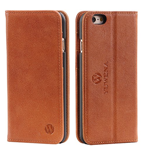 iPhone 6 Plus Case,iPhone 6s Plus Case,Genuine Leather Case,Luxury Wallet Case,Flip Folio Book Cover with Kickstand,Card Slots,Magnetic Closure(5.5 inches)Dunkelbraun Dunkelbraun