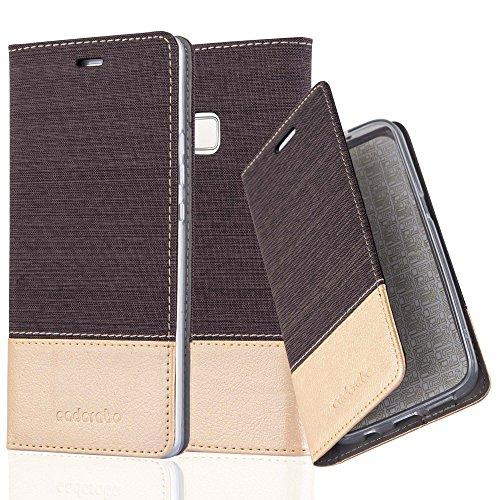 Preisvergleich Produktbild Cadorabo Hülle für Huawei P9 LITE - Hülle in Antrazit Gold – Handyhülle mit Standfunktion und Kartenfach im Stoff Design - Case Cover Schutzhülle Etui Tasche Book