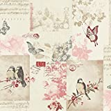 Holden Decor Songbird Vogel Schmetterling Rose Gemustert Postkarte Creme Tapete 11264