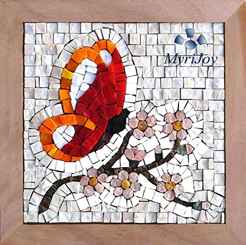 Make your own Mosaic DIY tile kit Four Seasons Spring - Arts and Crafts for adults - Italian marble & Murano glass tiles - One of a kind gift ideas