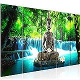 Bilder Buddha Wasserfall Wandbild 150 x 60 cm Vlies - Leinwand Bild XXL Format Wandbilder Wohnzimmer Wohnung Deko Kunstdrucke Blau 5 Teilig - MADE IN GERMANY - Fertig zum Aufhängen 503556b