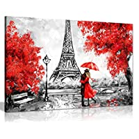 Paris Oil Painting Reproduction Eiffel Tower Red Umbrella Canvas Wall Art Picture Print