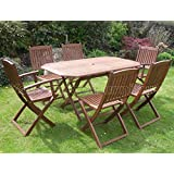 Canterbury Hardwood Garden Furniture 6 Seat Folding Patio Set Table & Chairs Ideal For Outdoor Living and Dining