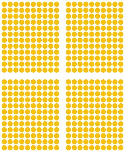 480adhesivos, 15mm, amarillo, funda de PVC, resistente a la intemperie, LabelOcean círculos puntos Pegatinas