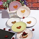 HomeDelightDe Kuchenteller Teller Dessertteller bunt Herz Porzellan