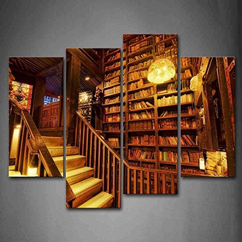 Braun Raum mit Holz Treppen und dicht Bücher Wand Art Malerei Bilder Print auf Leinwand City der Bild für Home Moderne Dekoration (Goldene Treppe-bücher)