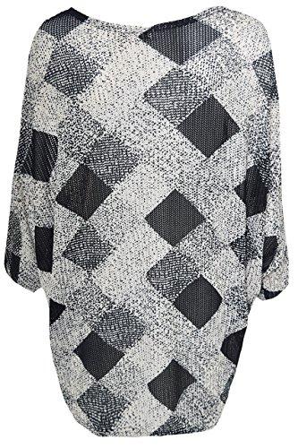 QED Damen Pullover Shirt mit Fledermausärmeln, lose Ärmel-Oversized-Fit 100% Polyester, kariert, Diamant-Muster, Schwarz Schwarz - Schwarz