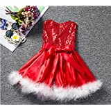 Christmas Red Fancy Dress (Age 3-4 Yrs) Christmas Party Clothes For Kids Girl Costume Fancy Dress For School Competiton | Birthday B'day Gift | Holiday Costume