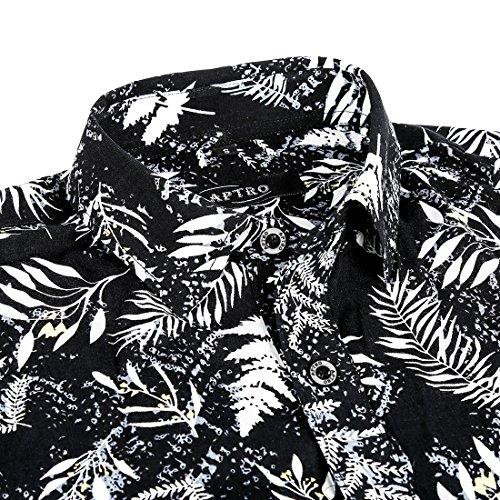APTRO Hemd Herren Kurzarm Freizeit Hemd Baumwolle Mehrfarbig Blumen Shirt Sommer APT026-Schwarz