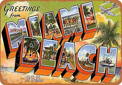 JIO KIY Greetings from Miami Beach Blechschild Metall dekorative Wand Poster Souvenir (Miami Art-deco-poster)