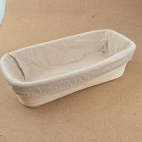 1x Rectangle Bread Proving Basket , Rattan Banneton Brotform ,Size 30.5x15x8cm , Hold 1000g dough ,Sour Dough proofing, artisan bread , With Linen liner by ifsecond Bread Basket Liner