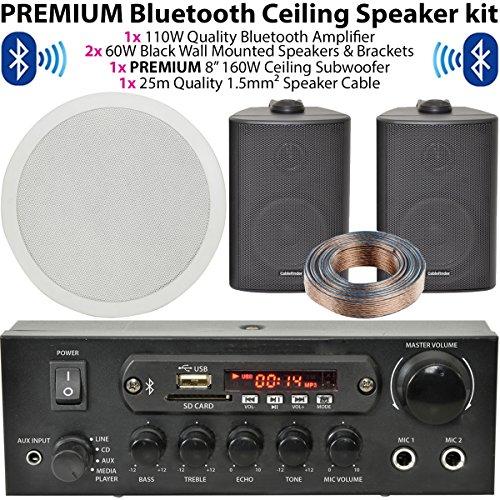 Schwarz Wand montiert Lautsprecher & Subwoofer/Sub System–Bluetooth/Wireless Home Cinema HiFi Verstärker–Bar/Restaurant 2.1Surround Sound Musik Kit