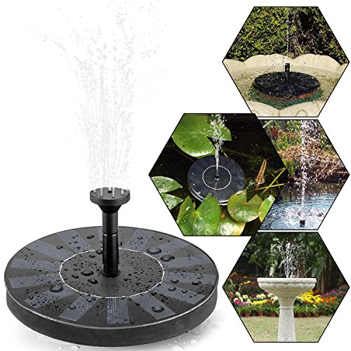 Solar Teichpumpe, tronisky Solar Panel Freie stehende Brunnen und pumpe Solar Wasserpumpe für Gartenteich Springbrunnen für Gartenteich,Vogel-Bad, Fisch-Behälter, kleiner Teich (Solar-sonne Hat)