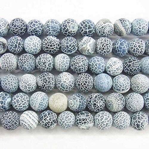 Thetastejewelry rond 10 mm gris Agate brute – fini mat Perles 38,1 cm 38 cm Bijoux Collier Healing – 2772
