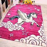 Kinderzimmer Teppich für Kinder Das Kleine Einhorn Pink Creme Türkis, Grösse:160x230 cm
