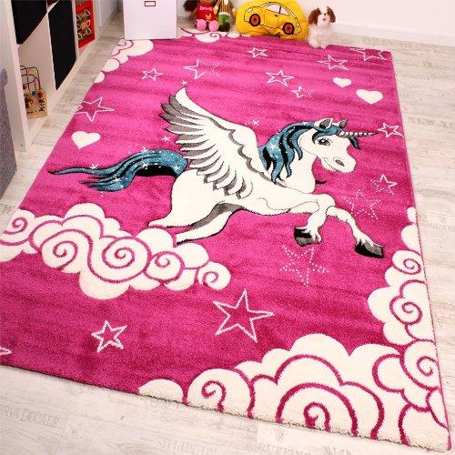 Alfombra Infantil - Diseño De Unicornio -En Rosa Crema Turquesa, Grösse:120x170 cm