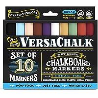 Marcadores de Tiza para Pizarra de VersaChalk – Colores Clásicos (Paquete de 10) | Libres de Polvo, A Base de Agua, No-Tóxicos | Lapiceras de Tinta de Tiza Delebles con Agua