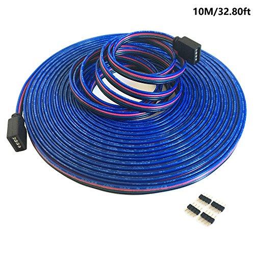 4-polig 10m RGB Verlängerungskabel Linie LED Kabel RGB Verbinder für LED-Strip-RGB5050/ RGB3528 LED Streifen Licht Band Lampe(10m/32.8ft)[Energieklasse A++]